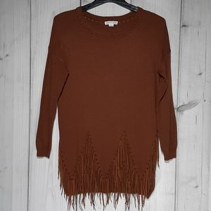 Loveriche Fringed Sweater Tunic Women's Size Small